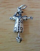 Sterling Silver 3D 28x18mm 3gram Halloween Movable Scarecrow Charm!