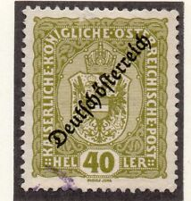 Austria 1918-19 Early Issue Fine Used 40h. Optd 220913