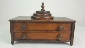 Antique Wood Sewing Box Thread Holder Winder Winding Top Two Drawers