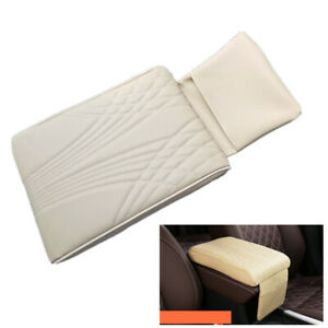 Beige PU Leather Car Center Console Armrest Cushion Mat Decompression Pad Cover