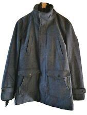 Mens Wool Blend Dark Blue Funnel Neck Coat Size M