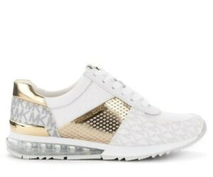 Michael Kors Allie Trainer Extreme  Sneakers Optic White/Pale Gold Size 11