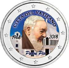 Vatikan 2 Euro 2018 Pater Pio Gedenkmünze Stempelglanz Padre Pio in Farbe