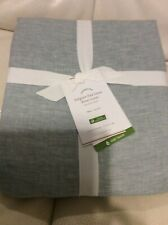 Pottery Barn Belgian Flax Linen Twin Duvet Cover NWT! Mineral Blue