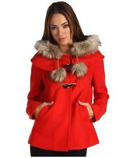 JUICY COUTURE TOGGLE POM POM COAT WOOL REMOVABLE HOOD RED JACKET SIZE P XS NWOT