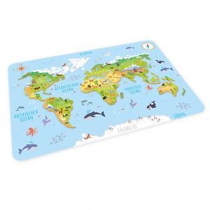 stabiles Vinyl Tischset Weltkarte Kinder Platzset abwaschbar