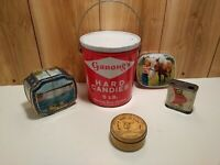 Vintage Hard Candies tin Ganong's 5 lb pail with 4 more  tins inside lot of 5