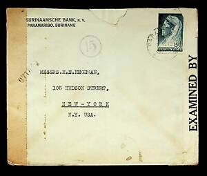 SURINAME 15c ON CENSORED COVER FROM PARAMARIBO TO USA