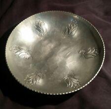 "Vintage Buenilum Hammered Aluminum Bowl Tulips Border 9 1/4"""