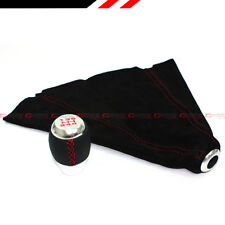 M12 X 1.25 Leather Chrome Shift Knob + Red Stitching Suede Shift Boot For Scion