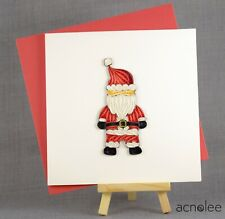 Quilling Cards - 3D Handmade Christmas Card Blank Quilled Xmas Santa