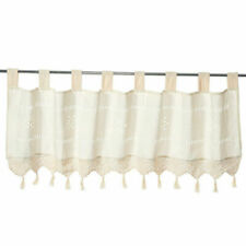 Embroidered Flower Short Curtain Eyelet Ring Top Cafe Kitchen Window Curtains