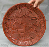 """12 """" marqué vieille dynastie de Chine laque rouge laque cerf grue oiseau plaque"""