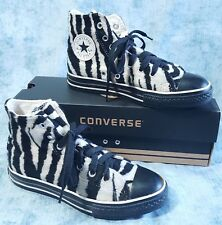 Converse Zebra Striped FUR Chucks 2/4 Rare Fuzzy Furry Black White Stripes w Box