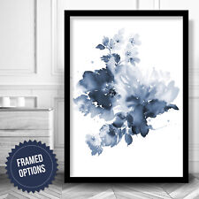 Navy Blue Watercolour abstract Flowers Gallery Wall Art PRINT Poster