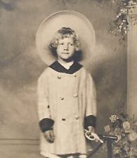 Studio Real Photo RPPC~Child In Straw Hat Holding Toy Horn~Owl Studio Seattle WA
