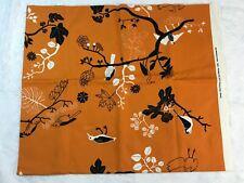 "Sweden Ikea 2007 Sissi Edholm Lisa Ullenius Orange Black Floral Fabric 60"" x 50"""