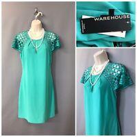 New Warehouse Spotlight Turquoise Mini Mesh Dress UK 10 EUR 38 RRP £75