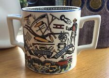 More details for bristol pottery god speed the plough large ceramic cider mug two handles 1950s