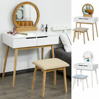 Vanity Table Set Dressing Table w/ Cushioned Stool Drawer Makeup Table
