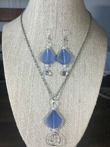 Handcrafted Sea Glass Jewelry Set Periwinkle Sea Shell Necklace & Earrings