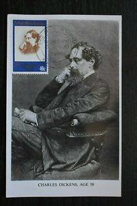 Postcard Charles Dickens Portrait with Stamp Unposted