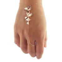 Rose Gold Orchid Bracelet Bangle Finger Ring Harness Hand Chain