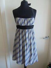 Betsey Johnson Wavy Plaid Silk Halter Dress Tunic Multi-Color Retro PinUp sz 8