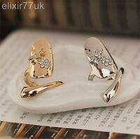UK GOLD / SILVER DRAGON FLY DIAMANTE NAIL ART CLAW FINGER TIP RING EMO FREE GIFT