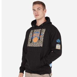 Express New York Knicks NBA Fleece Hoodie Hooded Sweatshirt Leopard Print NEW