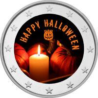 2 Euro Gedenkmünze mit Halloween coloriert / Farbe / Farbmünze / Kürbis / Happy
