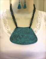Turquoise Patina Metal Bib Necklace Set Cowgirl Western