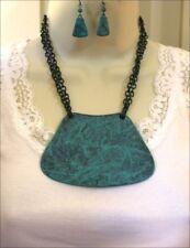 Turquoise Patina Metal Bib Necklace Set Cowgirl Western