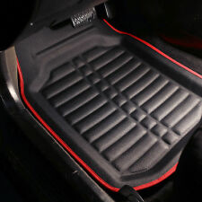 PU Leather Floor Mats for Auto Car SUV Van Deep Tray Waterproof Black Red
