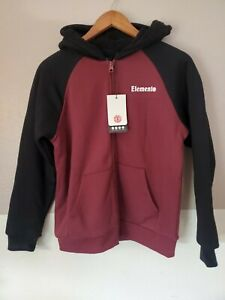 New Element Barry Zip-Up Hoodie Faux Fur Sweater Kids Size Large Black Maroon