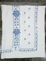 Vintage Handmade Cross Stitch Linen Tablecloth Navy Blue Rose Floral White