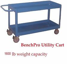 """BenchPro Heavy Duty Cart w/Dual Shelve Bin Top 19""""D x 43""""W 1600 Lb Capacity"""