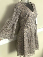 ELIZA J Bell Sleeve A-Line Fit & Flare Lace Dress Gray / Nude NWT$158 EJ6M3300