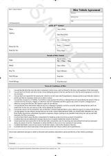 Legally Compliant - Hire / Courtesy Car / Loan Vehicle Agreement Pad