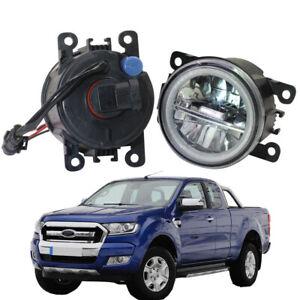 LED Fog Light + Angel Eye Rings Daytime Running Lights DRL Fit For Ford Ranger