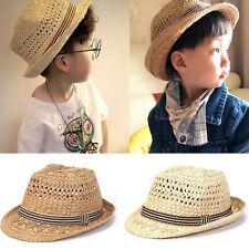 Child Baby Outdoor Straw Hat Wide Brim Cap Summer Beach Suncreen Boys Girls Hat