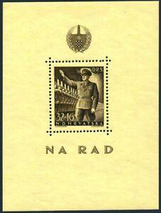 Croatia B69,hinged.Mi 166 Bl.7. Labor Corps,1944.Pavelich reviewing Labor Cor