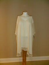 Catherines plus Short Sleeve Crochet Overlay V-neck Ivory 5X(34w-36w) NEW