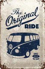 A4 Retro Tin Metal Embossed Sign ORIGINAL RIDE...KOMBI BUS Rustic VW Licensed