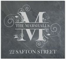 Personalised Monogram family name door plaque, sign, welsh slate, engraved,