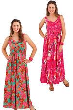 Pistachio Floral / Animal Print Bright Summer Maxi Dress Pink Green UK 8-22