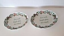 """Spode HOLIDAYS, Candy Dishes set of 2   """"Live well, laugh often, love much""""  6''"""