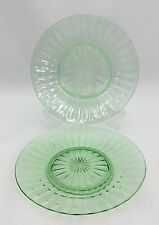 "2 Vintage Depression Clear Green Glass Salad 8 1/8"" Plates Panels"
