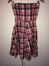 H&M Strapless Dress Size 14 Pink Black Check Metallic Thread <R9221