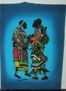KIWANUKA NAIROBI AFRICAN PEOPLE ORIGINAL BATIK PAINTING KENYA ARTIST